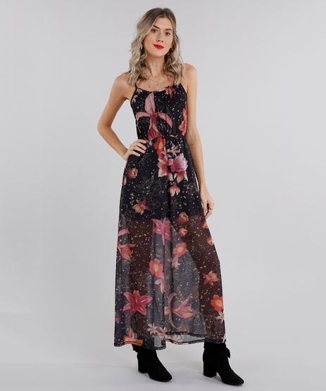 Vestido-Feminino-Longo-Estampado-Floral-em-Tule-de-Alca-Preto-9132016-Preto_1