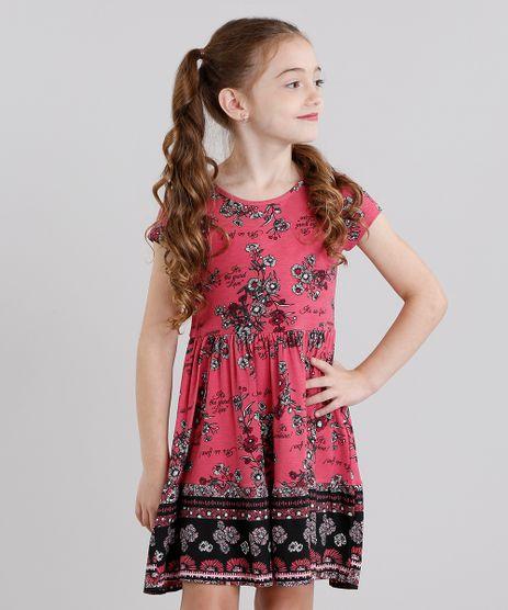 Vestido-Infantil-Estampado-Floral-Manga-Curta-Curto-Rosa-Escuro-9041158-Rosa_Escuro_1