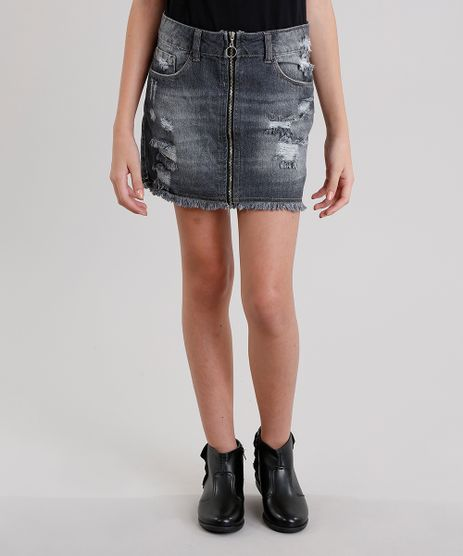 Saia-Jeans-Infantil-Destroyed-Preta-9069186-Preto_1