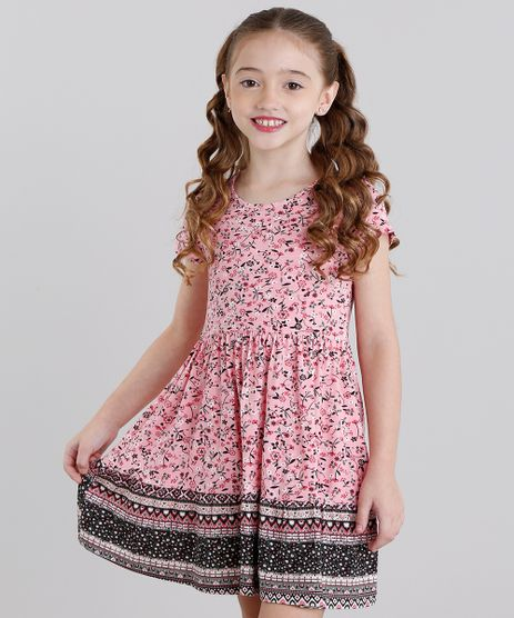 Vestido-Infantil-Estampado-Floral-Manga-Curta-Curto-Rosa-9041159-Rosa_1