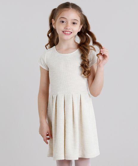 Vestido-Infantil-Texturizado-Curto-Manga-Curta-Bege-Claro-8821819-Bege_Claro_1