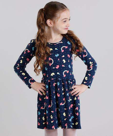 Vestido-Infantil-Estampado-de-Unicornio-Manga-Longa-Curto-em-Algodao---Sustentavel-Azul-Marinho-9120166-Azul_Marinho_1