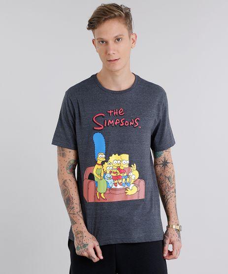 Camiseta-Masculina-The-Simpsons-Manga-Curta-Gola-Careca-Cinza-Mescla-Escuro-9035443-Cinza_Mescla_Escuro_1