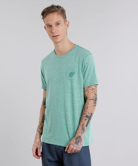 Camiseta-Masculina-com-Estampa-de-Folhagem-Manga-Curta-Gola-Careca-Verde-9058182-Verde_1