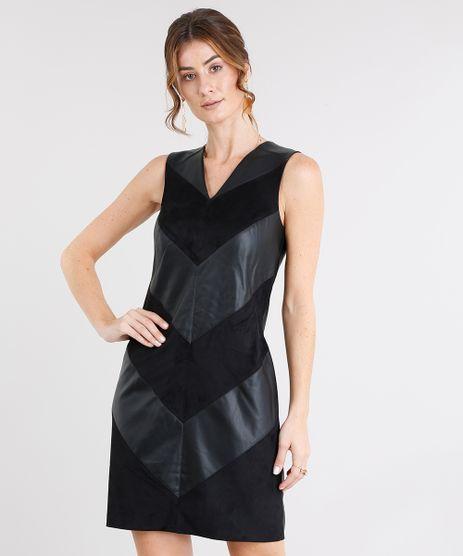 Vestido-Feminino-com-Recortes-Geometricos-em-Suede-Curto-Decote-V--Preto-8499837-Preto_1