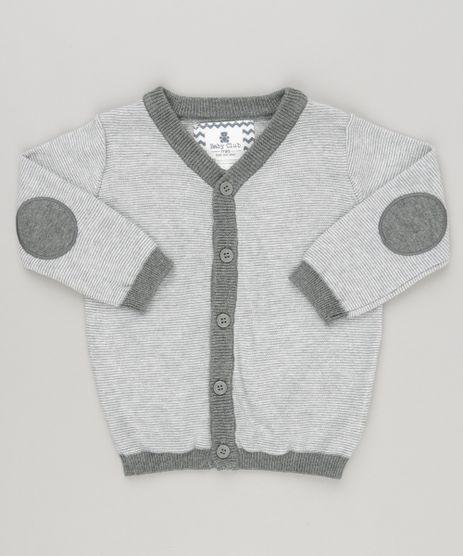 Cardigan-Infantil-Listrado-Decote-V-Manga-Longa-em-Trico-de-Algodao---Sustentavel-Cinza-Mescla-8909665-Cinza_Mescla_1