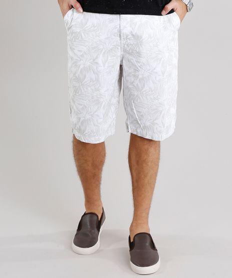 Bermuda-Masculina-Reta-Estampada-de-Folhagem-com-Bolsos-Off-White-8761832-Off_White_1