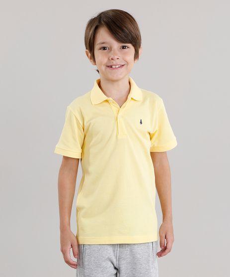Polo-Infantil-em-Piquet-Basica-Manga-Curta-com-Botoes-Amarelo-8435761-Amarelo_1