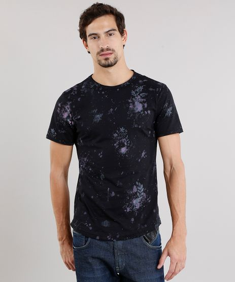 Camiseta-Masculina-Slim-Fit-Estampada-Floral-Manga-Curta-Gola-Careca-Preto-8969826-Preto_1