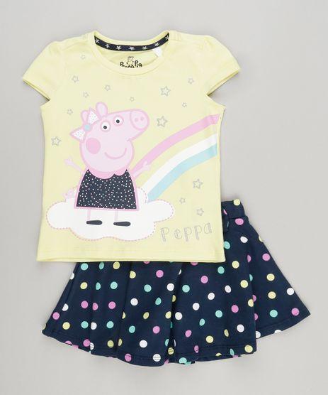 Conjunto-Infantil-de-Blusa-Peppa-Pig-Manga-Curta-Amarela---Short-Saia-Estampado-de-Poa-com-Laco-em-Algodao---Sustentavel-Azul-Marinho-9079359-Azul_Marinho_1