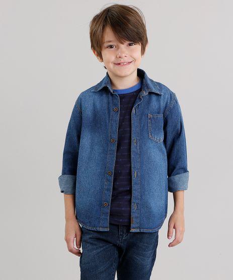 Camisa-Jeans-Infantil-com-Bolso-Manga-Longa--Azul-Escuro-9046825-Azul_Escuro_1