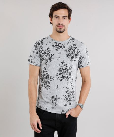 Camiseta-Masculina-Slim-Fit-Estampada-Floral-Manga-Curta-Gola-Careca-Cinza-Mescla-8969826-Cinza_Mescla_1