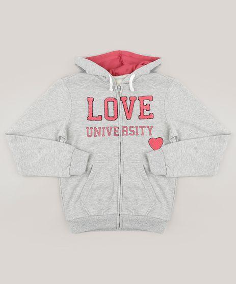 Blusao-Infantil-em-Moletom--Love--com-Capuz--Cinza-Mescla-8830889-Cinza_Mescla_1