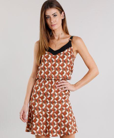 Vestido-Feminino-com-Argola-na-Alca-Estampado-Geometrico-Curto-Caramelo-8886732-Caramelo_1