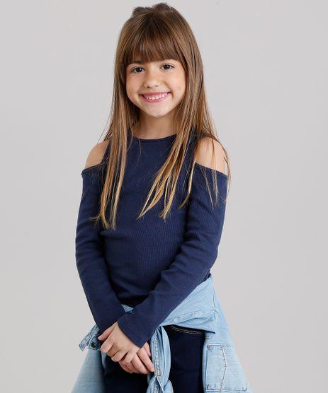 Blusa-Infantil-Open-Shoulder-Canelada-com-Renda-na-Barra-Manga-Longa-Decote-Redondo-Azul-Marinho-9132421-Azul_Marinho_1