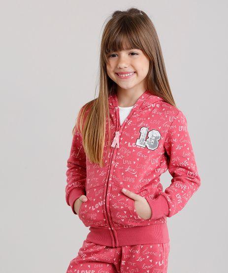 Blusao-Infantil-Estampado--Love--com-Bordado-em-Moletom-com-Capuz-Rosa-Escuro-8830658-Rosa_Escuro_1