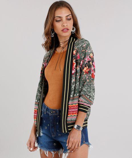 Kimono-Feminino-Estampado-Floral-com-Ribana-Listrada-com-Lurex-Verde-Militar-8898719-Verde_Militar_1
