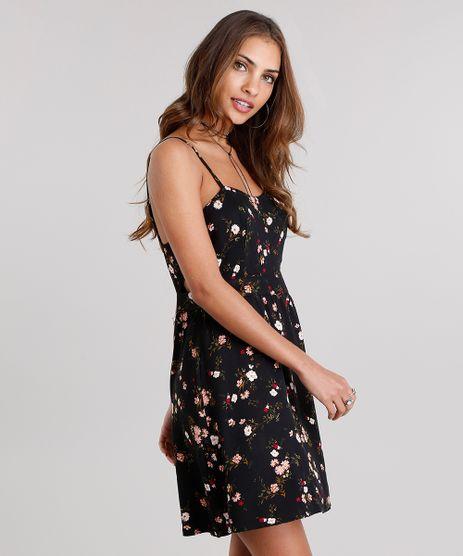 Vestido-Feminino-Estampado-Floral-Curto-com-Recorte-e-Alcas-Finas-Preto-8903733-Preto_1