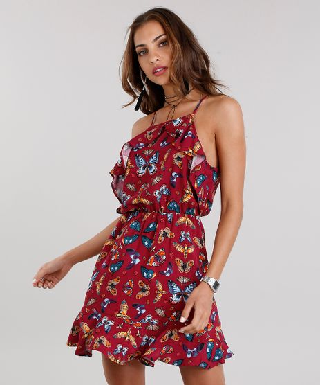 Vestido-Feminino-Halter-Neck-Estampado-de-Borboletas-Curto-com-Babados-e-Alcas-Finas-Vinho-8900331-Vinho_1