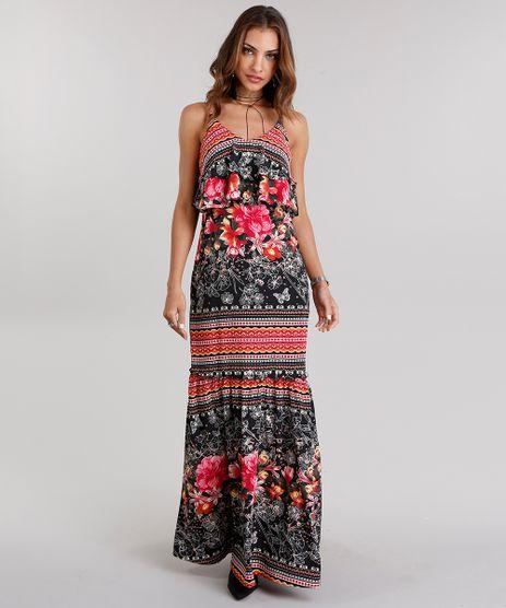 Vestido-Feminino-Longo-Estampado-Floral-com-Babados-Alcas-Finas-Preto-8901142-Preto_1
