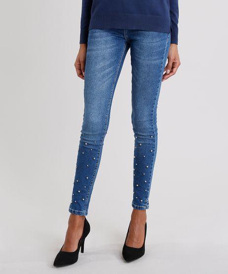 Calca-Jeans-Feminina-Cigarrete-Cintura-Alta-com-Bolinhas-Azul-Escuro-9035721-Azul_Escuro_1