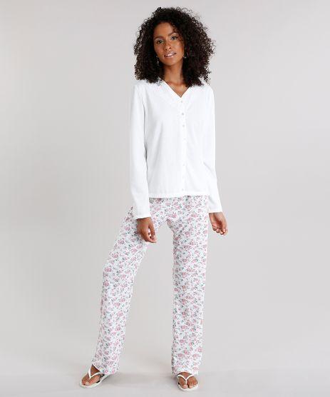 Pijama-Feminino-com-Estampa-Floral-Manga-Longa-Com-Botoes-Off-White-9120666-Off_White_1