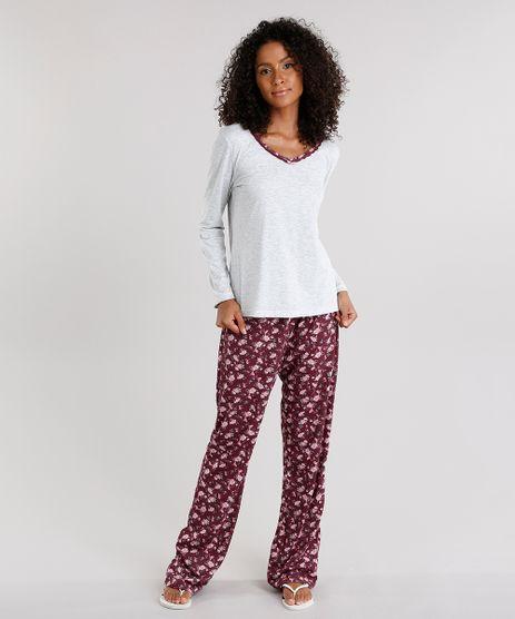 Pijama-Feminino-com-Estampa-Floral-Manga-Longa-Cinza-Mescla-Claro-9122654-Cinza_Mescla_Claro_1