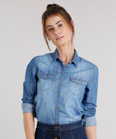 Camisa-Jeans-Feminina-com-Bolsos-Azul-Medio-9157061-Azul_Medio_1