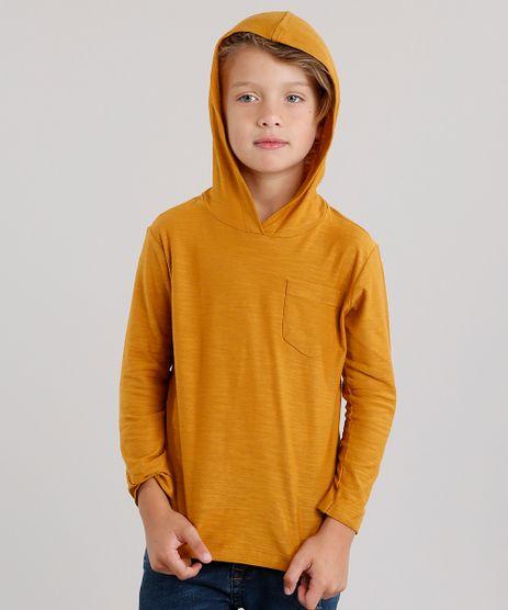 Camiseta-Infantil-Basica-com-Capuz-com-Bolso-Manga-Longa-em-Algodao---Sustentavel-Amarelo-Escuro-9128697-Amarelo_Escuro_1