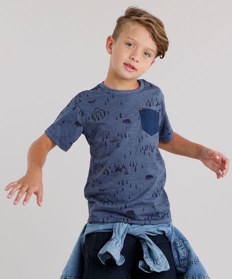 Camiseta-Infantil-Estampada-de-Ursos-com-Bolso-Manga-Curta-Gola-Careca-Azul-Marinho-9142388-Azul_Marinho_1