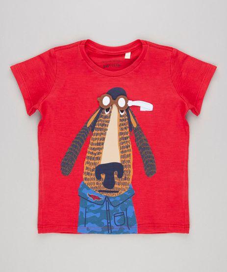 Camiseta-Infantil-com-Estampa-Interativa-Cachorro-com-Oculos-Manga-Curta-Gola-Careca-Vermelha-9140669-Vermelho_1