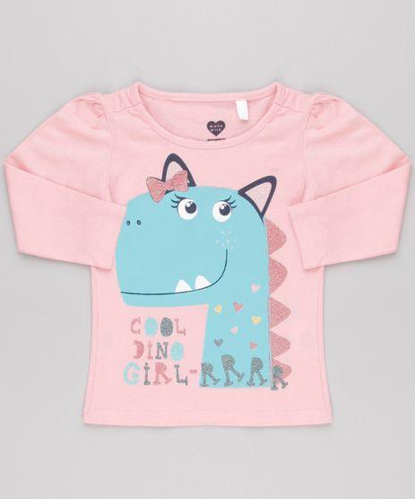 Blusa-Infantil-Dinossauro-com-Glitter-Manga-Longa-Decote-Redondo-em-Algodao---Sustentavel-Rosa-9145678-Rosa_1