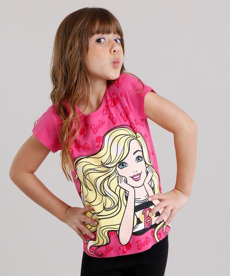 Blusa-Infantil-Barbie-com-Glitter-Manga-Curta-Decote-Redondo-em-Algodao---Sustentavel-Pink-9043897-Pink_1
