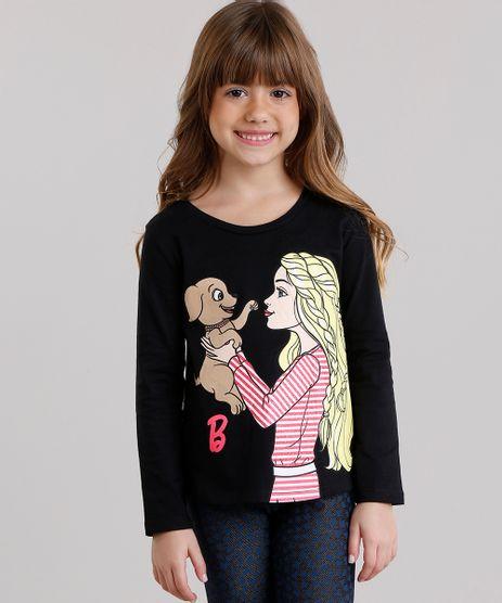 Blusa-Infantil-Barbie-com-Glitter-Manga-Longa-Decote-Redondo-em-Algodao---Sustentavel-Preta-9043909-Preto_1
