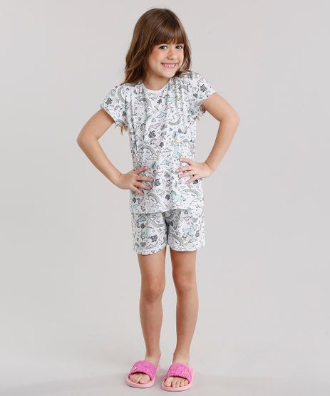 Pijama-Infantil-Estampado-de-Unicornio-Manga-Curta-Gola-Redonda-Cinza-Mescla-Claro-9132992-Cinza_Mescla_Claro_1