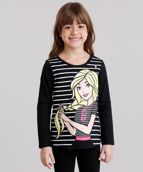 Blusa-Infantil-Barbie-com-Estampa-Listrada-Manga-Longa-Decote-Redondo-em-Algodao---Sustentavel-Preta-9137854-Preto_1