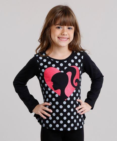 Blusa-Infantil-Barbie-com-Glitter-Manga-Longa-Decote-Redondo-em-Algodao---Sustentavel-Preta-9137852-Preto_1
