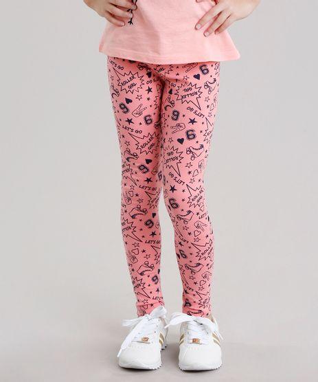 Calca-Infantil-Legging-Estampada-de-Estrelas-em-Algodao---Sustentavel-Rosa-9120275-Rosa_1