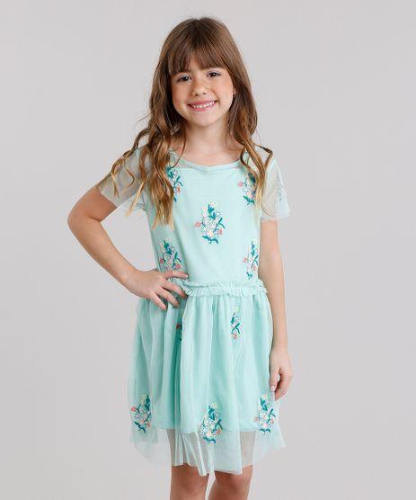 Vestido-Infantil-em-Tule-Bordado-Floral-Manga-Curta-Decote-Redondo-Verde-Claro-8690745-Verde_Claro_1