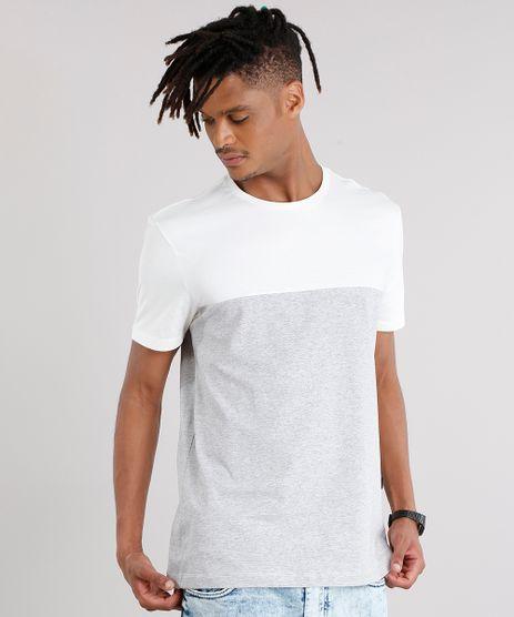 Camiseta-Masculina-com-Recorte-Listrado-Manga-Curta-Gola-Careca-Cinza-Mescla-Claro-9127317-Cinza_Mescla_Claro_1