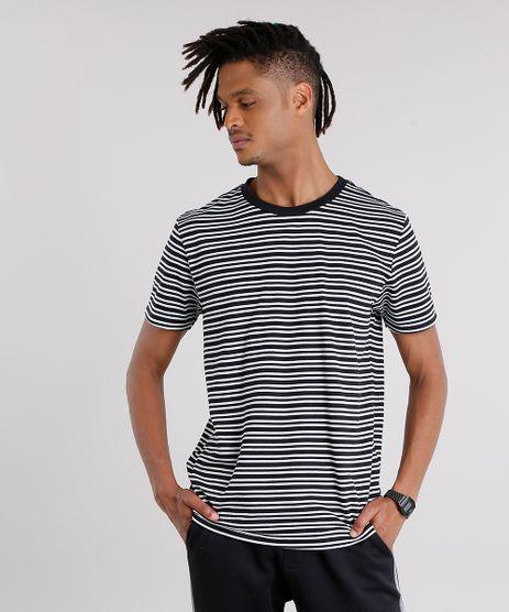 Camiseta-Masculina-Listrada-Manga-Curta-Gola-Careca-Preta-9127320-Preto_1