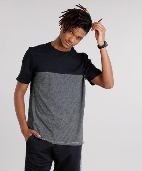 Camiseta-Masculina-com-Recorte-Listrado-Manga-Curta-Gola-Careca-Preto-9127318-Preto_1