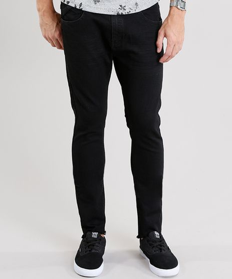 Calca-Jeans-Masculina-Super-Skinny-Cropped-com-Barra-Desfiada-Preta-8938398-Preto_1