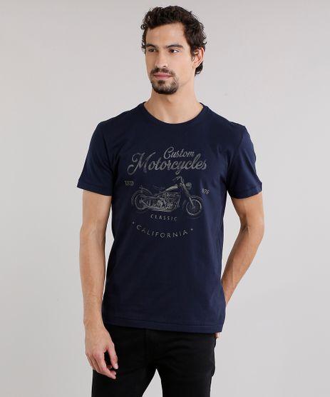 Camiseta-Masculina--Custom-Motorcycles--Manga-Curta-Decote-Careca-em-Algodao---Sustentavel-Azul-Marinho-9165163-Azul_Marinho_1