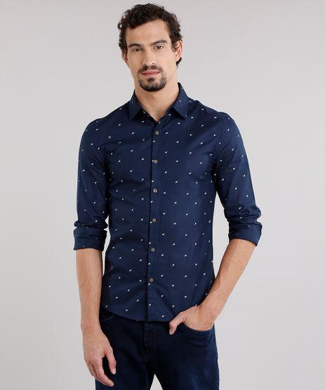Camisa-Masculina-Slim-Estampada-de-Folhagem-Manga-Longa-Azul-Marinho-9138300-Azul_Marinho_1