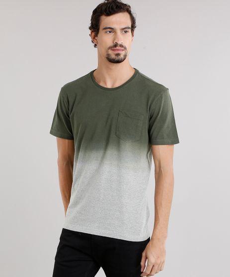 Camiseta-Masculina-Degrade-com-Bolso-Manga-Curta-Decote-Careca-Verde-Militar-9115034-Verde_Militar_1