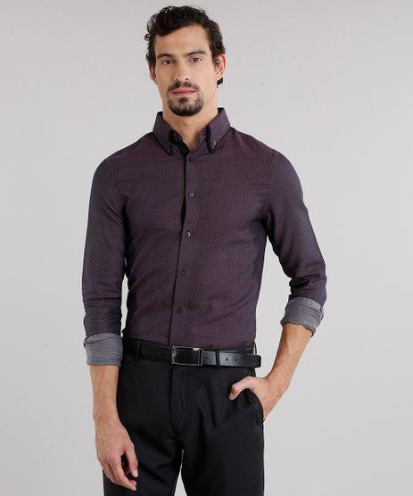Camisa-Masculina-Slim-Estampada-de-Poa-com-Bolso-Manga-Longa-Vinho-8858209-Vinho_1