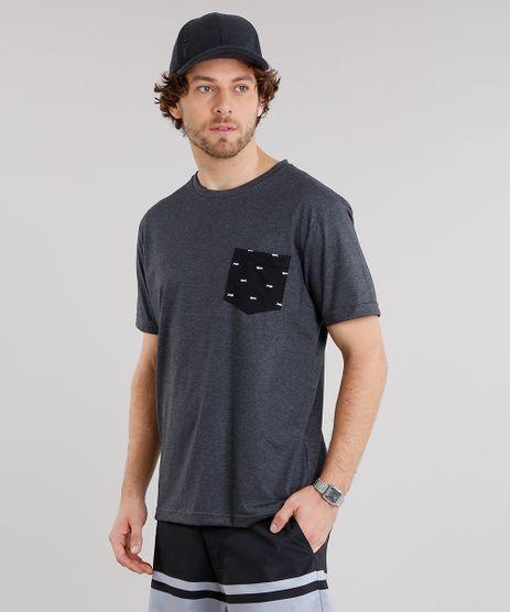 Camiseta-Masculina-com-Bolso-Estampado-de-Peixes-Manga-Curta-Gola-Careca-Cinza-Mescla-Escuro-9125661-Cinza_Mescla_Escuro_1