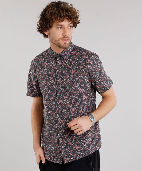 Camisa-Masculina-Estampada-Floral-com-Bolso-Manga-Curta-Preta-9101652-Preto_1
