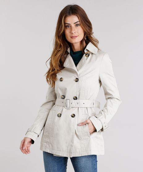 Casaco-Feminino-Trench-Coat-Alongado-Transpassado-com-Botoes-e-Cinto-em-Sarja-Kaki-8886585-Kaki_1